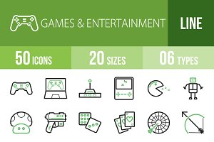 50 Games Line Green & Black Icons