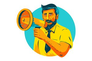 Bearded Hipster Man With Megaphone W
