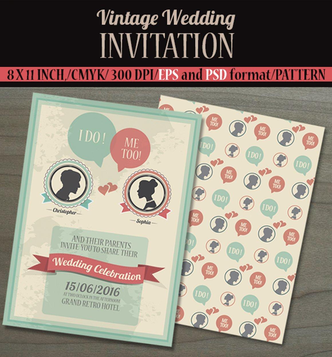 Vintage Wedding Invitation Card. ~ Invitation Templates ~ Creative ...