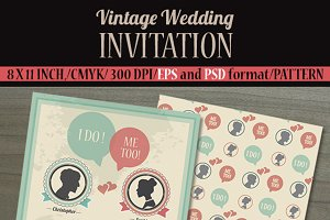 Vintage Wedding Invitation Card.