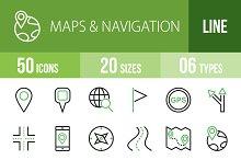 50 Maps Line Green & Black Icons