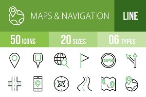 50 Maps Line Green & Black Icons