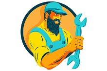 Bearded Mechanic Holding Spanner Cir