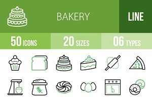 50 Bakery Line Green & Black Icons