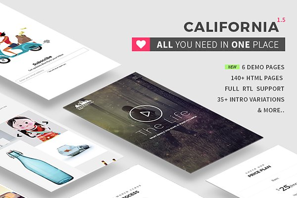 Bootstrap Themes: Theme Wagon - California - All in one HTML5 theme