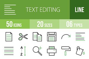 50 Text Editing Green & Black Icons