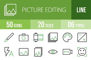 50 Picture Editing Green&Black Icons