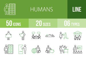 50 Humans Line Green & Black Icons