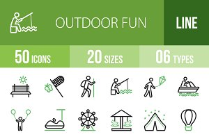 50 Outdoor Fun Green & Black Icons