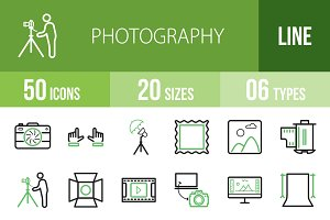 50 Photography Green & Black Icons