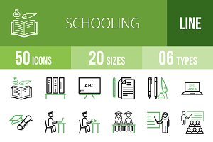 50 Schooling Line Green&Black Icons