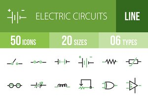 50 Circuits Line Green & Black Icons