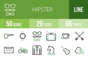 50 Hipster Line Green & Black Icons