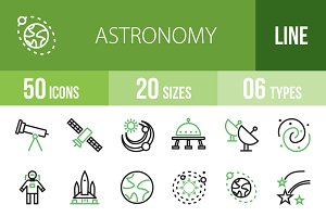 50 Astronomy Line Green&Black Icons