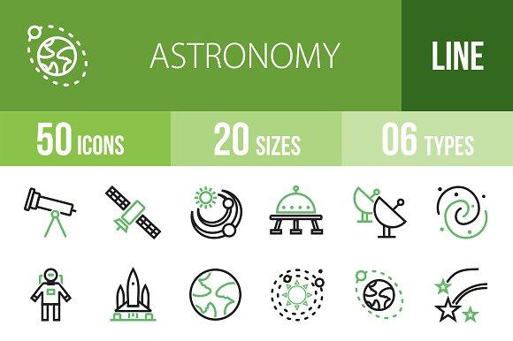 50 Astronomy Line Green&Black Icons