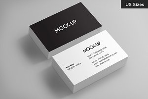 Business Card Mockups - US Sizes