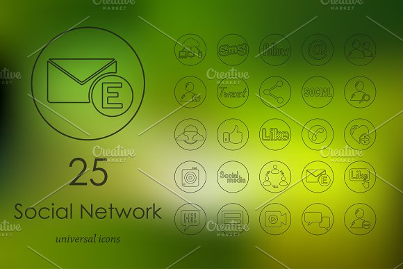 25 social network line icons