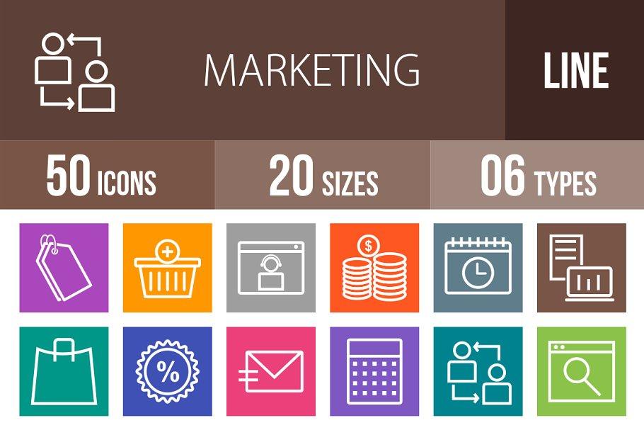 50 Marketing Line Multicolor Icons