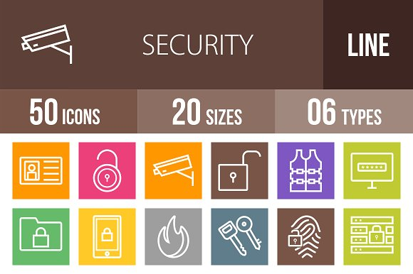 50 Security Line Multicolor Icons