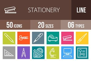 50 Stationery Line Multicolor Icons