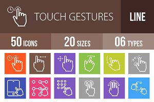 50 Touch Line Multicolor Icons