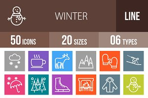 50 Winter Line Multicolor Icons