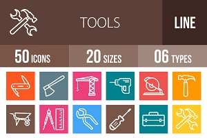 50 Tools Line Multicolor Icons