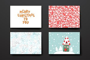 Set of Cards in Christmas style