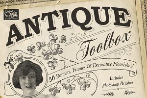 Antique Toolbox - 50 Vintage Brushes