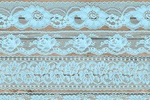 Vintage Blue Lace Borders Clipart