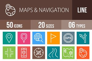 50 Maps Line Multicolor Icons