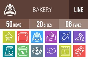50 Bakery Line Multicolor Icons
