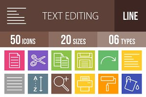50 Text Edit Line Multicolor Icons