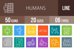 50 Humans Line Multicolor Icons