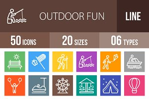 50 Outdoor Fun Line Multicolor Icons
