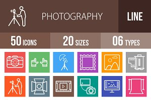 50 Photography Line Multicolor Icons