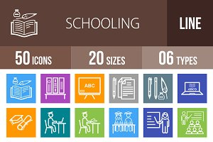 50 Schooling Line Multicolor Icons