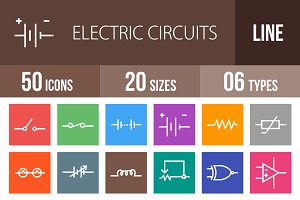 50 Circuits Line Multicolor Icons