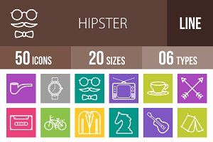 50 Hipster Line Multicolor Icons