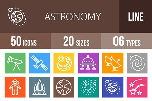 50 Astronomy Line Multicolor Icons