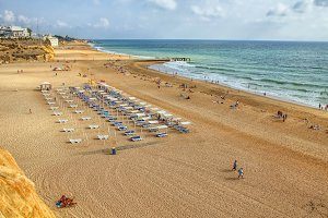 People on the beach of Albufeira