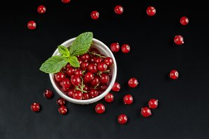 red currants on black background