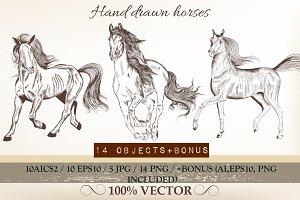 Big set of hand drawn horses