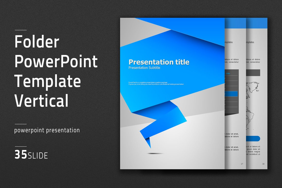 origami powerpoint template vertical presentation templates