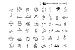 Hotel and Travel line icons