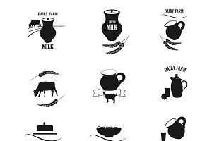 Milk and Dairy farm label, logo.