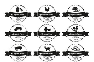 Farm product label, logo set.