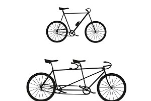Bike and tandem bike isolated