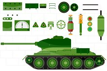 Tank spare and parts tank. vector