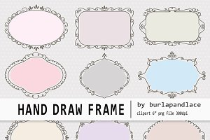 Hand draw frames pastel color